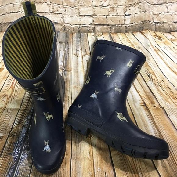 3dc9c80c6 Joules Shoes | Wellies Navy French Bulldog Rain Boots Us 7 | Poshmark